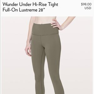LULULEMON WUNDER UNDER PANT SIZE 2